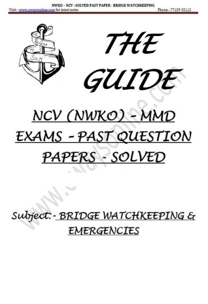 Bridge Watchkeeping NCV NWKO Solved Past papers