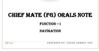 Function 1 - Chief Mate Orals Notes by Sagar Das