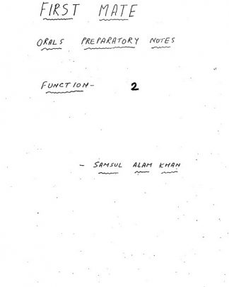 Function 2 - Chief Mate Orals Notes by Samsul Alam Khan
