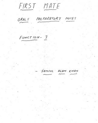 Function 3 - Chief Mate Orals Notes by Samsul Alam Khan