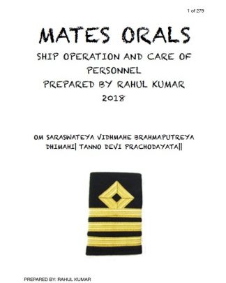 Function 3 - Chief Mate Orals Notes by Rahul Kumar