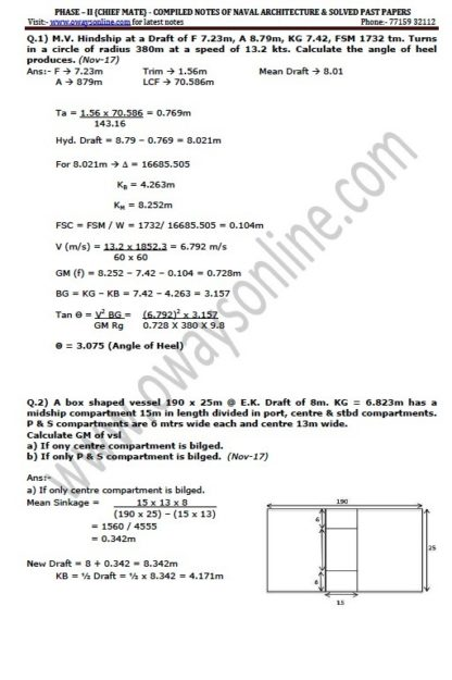 Naval Architecture Class Notes Phase 2 Chief Mate by Gaurav Sama