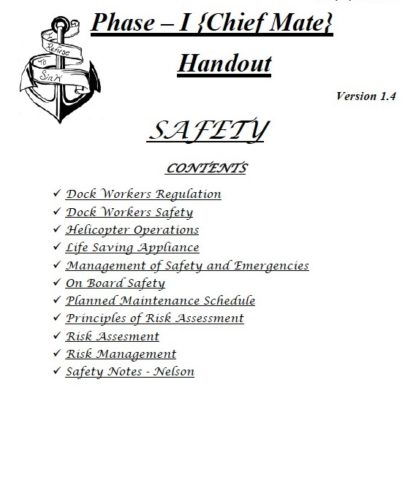 Safety Consolidated Notes for Phase 1 Chief Mate